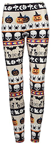 Halloween Leggings (Sister Amy Women's Halloween Pumpkin Skulls Printed Ankle Elastic Tights Legging Halloween L)