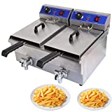 Ridgeyard 20L Commerical Dual Tank Deep Fryer Stainless Steel w/ Timer and Drain for Home Fast Food Restaurant
