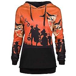 UONQD Women Halloween Sweatshirt Hooded Moon Bat Print Drawstring Hoodie Tops (Large,Orange)