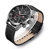 Men's Quartz Watches Fashion and Personality, 30M Water Resistant, Leather Straps