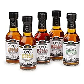 "Hella Cocktail Co. | 5-Pack Bitters Bar Set, 8.5 Fl Oz Total | Craft Aromatic, Orange, Ginger, Citrus, & Smoked Chili Cocktail Bitters made with Real Fruit Peel & Whole Spices 1 The 5-flavor bitters barest sets you up with the bitters flavors to create almost any classic cocktail you can imagine, plus unlimited possibilities of your own cocktail adventures; "" Each formula produced with a particular spirit in mind, these flavors are delicious, versatile and crafted for both the professional bartender and the hobbyist. Named Best Locally Made Bitters by Liquor.com, our potent, handcrafted alcohol-based extracts take 30 days to make and a long time to use, so you always get your money's worth."
