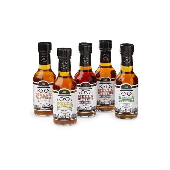 "Hella Cocktail Co. 5-Pack Bitters Bar Set (8.5 Fl Oz Total) - Craft Aromatic, Orange, Ginger, Citrus, and Smoked Chili… 1 The 5-flavor bitters barest sets you up with the bitters flavors to create almost any classic cocktail you can imagine, plus unlimited possibilities of your own cocktail adventures; "" Each formula produced with a particular spirit in mind, these flavors are delicious, versatile and crafted for both the professional bartender and the hobbyist. Named Best Locally Made Bitters by Liquor.com, our potent, handcrafted alcohol-based extracts take 30 days to make and a long time to use, so you always get your money's worth."