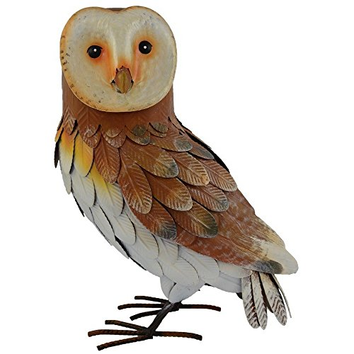 Gainsborough Gifts Barn Owl Metal Garden Decoration (18 x 12 x 7in) (Multicolored) For Sale