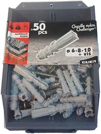 Sachet 50 pi/èces Chevilles Nylon Diam 6-8-10 avec vis fixation