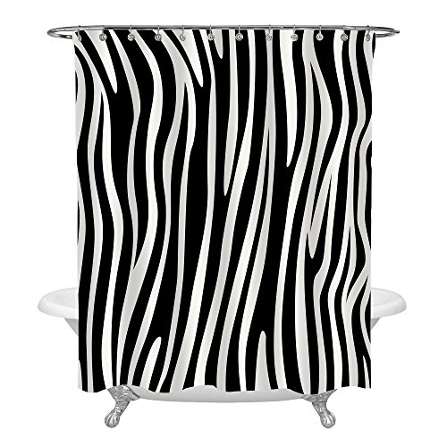 MitoVilla Black and White Zebra Stripe Shower Curtain, Abstract Animal Print Art Deco Design Modern Stylish Bathroom Decor, Business Gifts for Adults Teens, Water Resistant 72x72 Standard Size