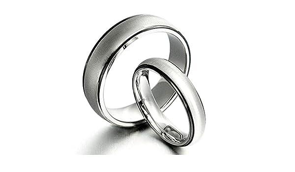 14.5 Women Ring Size 11 Gemini Groom /& Bride Two Tone Black /& Silver Matt /& Polish Wedding Bands Matching Titanium Rings Set 6mm /& 4mm Width Men Ring Size