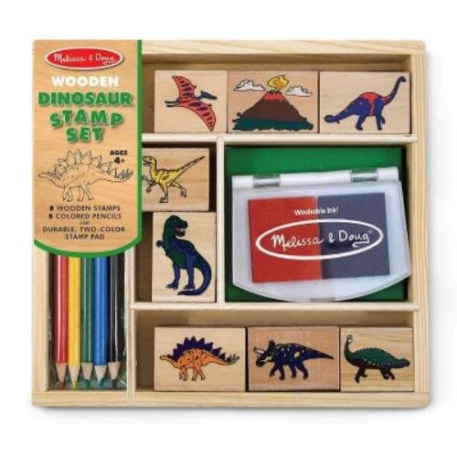Melissa & Doug Dinosaur Stamp Set: 8 Wooden Stamps, 5 Colored Pencils and Durable, Two-colored Stamp Pad