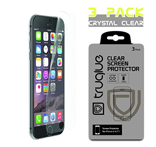 iPhone 6 Screen Protector, [3-PACK CLEAR] Truglue FULL HD Screen Protector for iPhone 6 (4.7) - Precision Fit - High Resolution - Super Touch Sensitivity - Easy Removal with No Residue (with Cleaning
