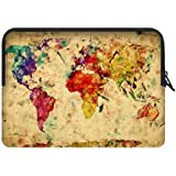 CASECOCO Vintage World Map Water Resistant Neoprene Laptop Sleeve 17 17.3 Inch Notebook Computer Bag Case Cover(Twin Sides)¡