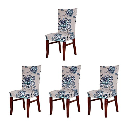 SoulFeel 4 x Soft Spandex Fit Stretch Short Dining Room Chair Covers with Printed Pattern, Banquet Chair Seat Protector Slipcover for Home Party Hotel Wedding Ceremony (Style 5) by SoulFeel