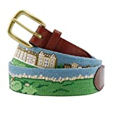 Smathers & Branson Men's St. Andrews Scene Needlepoint Belt 42 Multi