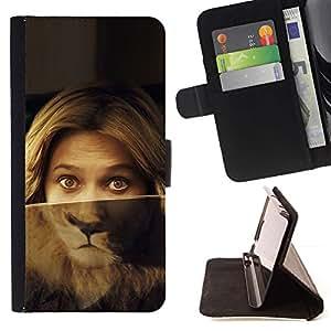 Momo Phone Case / Flip Funda de Cuero Case Cover - Retrato de la mujer Ojos del león Verde Rubia - Samsung Galaxy Note 5 5th N9200