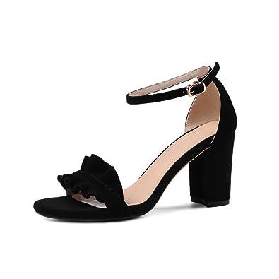 9160e28f37db AdeeSu Ladies Round-Toe Ankle-Wrap Chunky Heels Black Suede Sandals - 4 B