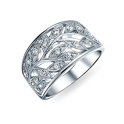 top Bling Jewelry Milgrain Style CZ Leaves Band Sterling Silver Ring free shipping