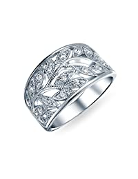 Boho Pave Cubic Zirconia Open Filigree Wide Leaves Leaf Band Ring For Women 925 Sterling Silver