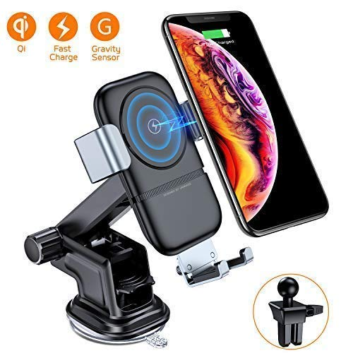 (VANMASS Wireless Car Charger, 10W Qi Fast Charging, Universal Car Air Vent Mount Phone Holder with Gravity Sensor Compatible with Samsung Galaxy S8/8+, S9/9+, Note8, iPhone 8/8 Plus/X and More.)