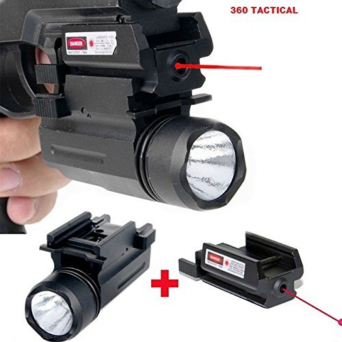 Gotical 2 in 1 Tactical Pistol Red Dot Laser Sight + 180 Lumen Cree LED Flashlight Combo Hunting Accessories for Pistol Guns 1911 M9 Glock 17,19,20,21,22,23,30,31,32 (Combo)