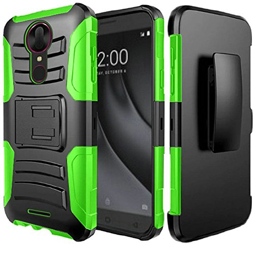 (2Layer Rugged Rubber Case Cover w/Holster Belt Clip for Coolpad T-Mobile REVVL Plus Phone (Black on Green))