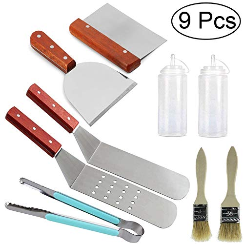 9Pcs Grill Griddle Accessories BBQ Tool Kit-Stainless Steel Professional Griddle Tool Set-2Spatulas,1Tongs,1Chopper,1Scrapper,2Bottles,2wooden basting brush-For Flat Top Cooking Camping Tailgating