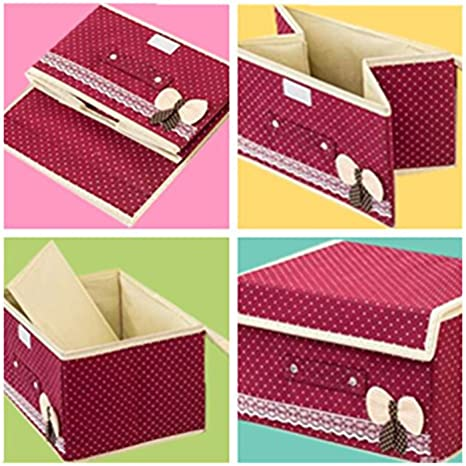 Polka Dot Storage Canbinet Storage Cube Basket Set of 2 Brown KINGREE Foldable Storage Containers With Lids