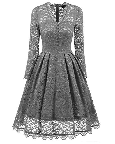 Cocktail Lace Dress Sleeve Dresses Swing 2017 Gray Retro Dresses Formal Short Prom Vintage Women's Party Adodress Cap Floral aIq6ZYYw