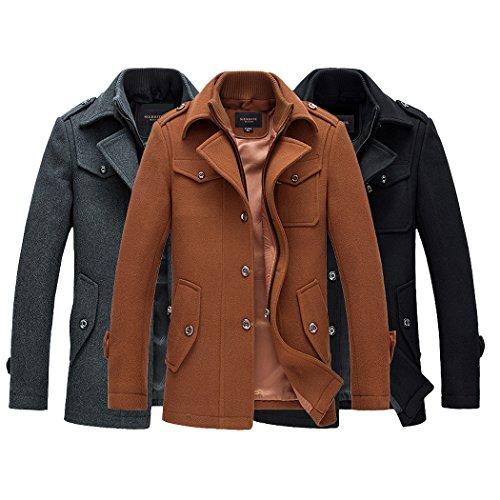 Guandoo Mens Winter Slim Fit Wool Coat Jacket Stand Collar Overcoat Mid Long