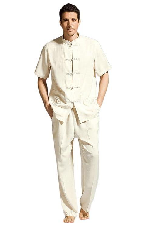 Traje tradicional chino de artes marciales de ZooBoo, para practicar Tang o Kung Fu, conjunto con chaqueta de manga corta, uniforme, ropa para hombre ...