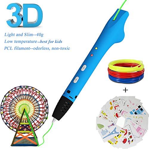 New Upgraded 3D Pen, 3D Printing Pen Compatible with 1.75mm Low Temperature PCL filament+20 Pcs Drawing Stencils, 3D Doodle Pen, No Clog, 3D Art Crafts DIY or Education Creation Printer Pen for Kids