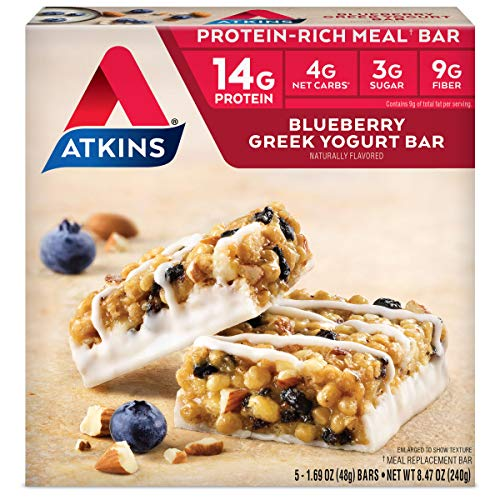- Atkins Protein-Rich Meal Bar, Blueberry Greek Yogurt, 5 Count