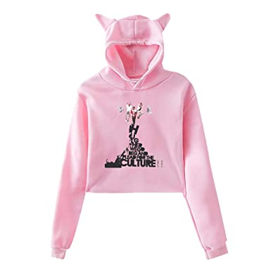 5dd13d52e Women s Migos Culture II Fashionable Music Band Long Sleeves Cat Ear Hoodie  Crop Sweater Particular Hoodies Gift at Amazon Women s Clothing store