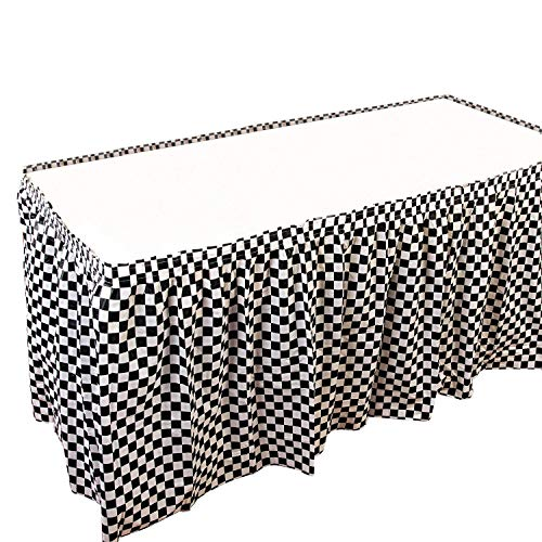 JINSEY 4 Pack Plastic Black White Checkered Table Skirt Racking Party Decorations - 14ft