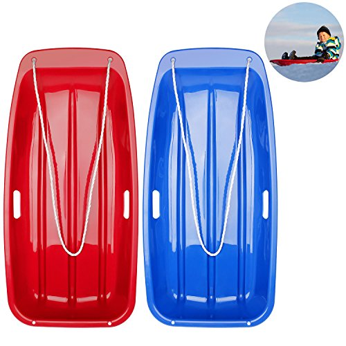 AQV Plastic Snow Sleds for Kids and Adult Sled Toboggan Downhill Sprinter Winter Durable Plastic Snow Slider in Boat Shape Snow Sledge 35-inch 2 Pack Blue & Red