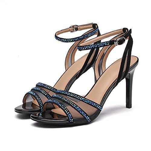 Sandales Femmes Chaoxiang Été Ouvert Orteils Chaussures En Strass Colorés Avec Antidérapante Super Haute Houe Mince 3 Couleurs, Hauteur Du Talon De 8 Cm Noir