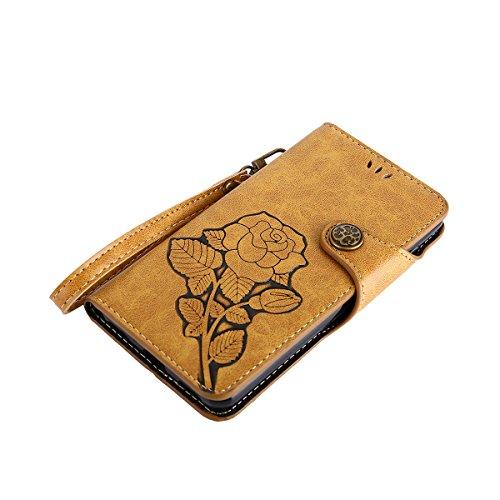 MEIRISHUN Leather Wallet Case Cover Carcasa Funda con Ranura de Tarjeta Cierre Magnético y función de soporte para Huawei Ascend Y5(2017) - Verde claro Caqui