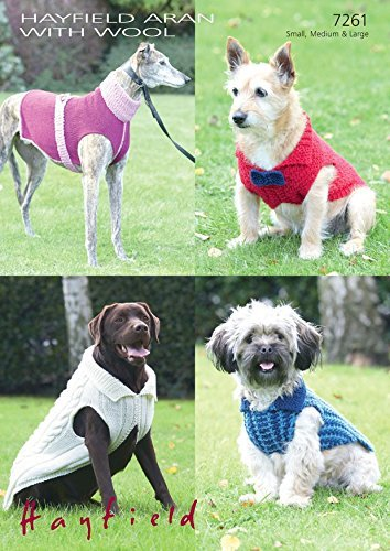 Sirdar 7261 Knitting Pattern Dog Coats To Knit In Hayfield Aran With