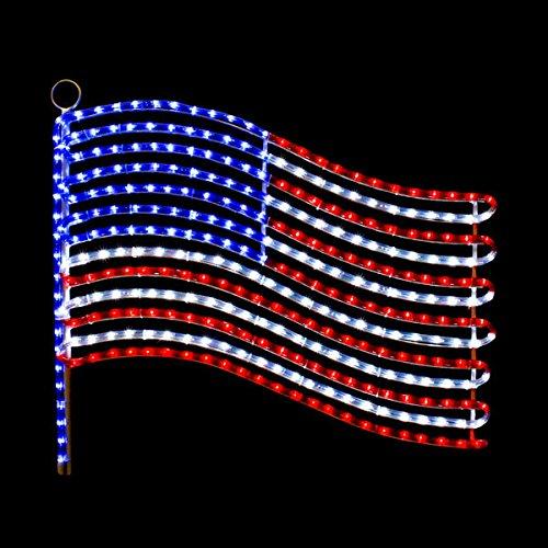 LED USA FLAG ROPE LIGHT MOTIF SILHOUETTE WINDOW DISPLAY