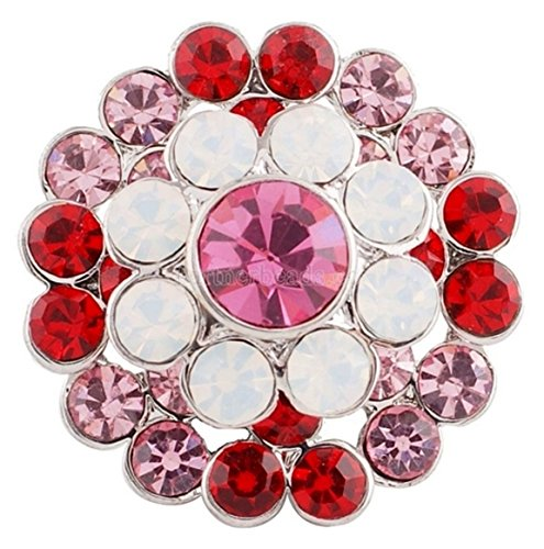 Rockin Angels Pink Red Opal Rhinestone 20mm Snap Charm Button For Ginger Snaps ()