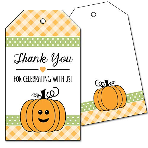 Halloween Thank You Tags (25 Pumpkin Thank You Favor Tags for Birthday or Baby Shower - Orange and)