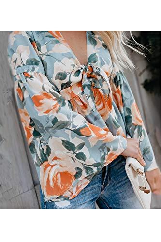 Simgahuva Camicetta A Maniche Lunghe/Collo della Donna di Fiori Fluttuanti Casual Camicia al Massimo Blu