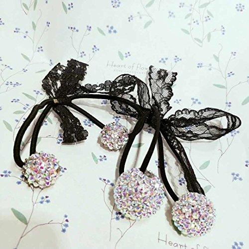 (usongs Korean lace bow diamond Austrian Diamond Double Diamond ball hair Hair Rope leather head Shengpi tendons hair jewelry)