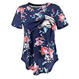 Funny Pregnancy Shirts for Women,Women's Pregnancy Splicing Stripe Floral Print T-Shirt Nursing Baby Top,Novelty Clothing,White,S