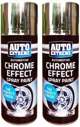 2 X Chrome Foil Mirror Metallic Effect Auto Spray Paint Diy Car Aerosol 200ml Amazon Co Uk Diy Tools