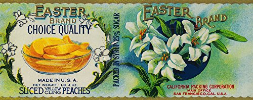 Easter Peach Label  - Easter wall art decor