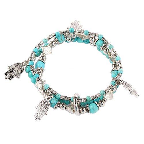 - YinMai Bohemian Turquoise Beaded Bracelet Symbols-Hand Charm Beach Stretch Bracelet 3 Sets