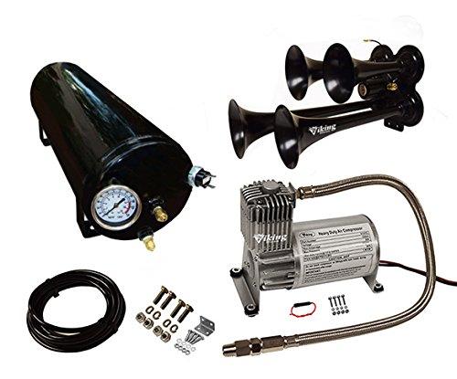 Viking Horns V107C-3/4008B Loud 149 Decibels Black Four Trumpet Train Air Horn System Kit