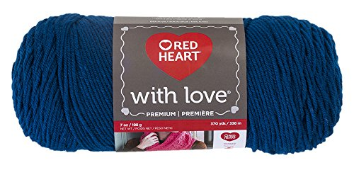 Blue Classic Knitting Yarn - Red Heart 0305563 Love Peacock Yarn, Solid