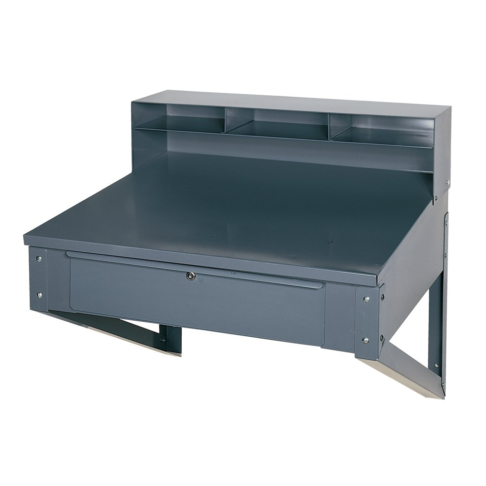 Edsal 650 Steel Wall Mounted Shop Desk with 5 Top and Drawer, 34'' Width x 32'' Height x 30'' Depth, Gray