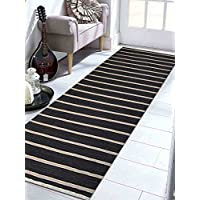 Rugsotic Carpets Hand Woven Kelim Wool 3 x 13 Contemporary Runner Rug Charcoal Cream D00116 With Fringe