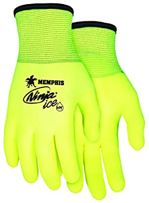 Memphis Glove N9690HVL Ninja Ice High Visibility Nylon Liner Double Layer Gloves with HPT Coating, Lemon Yellow, Large, 1-Pair