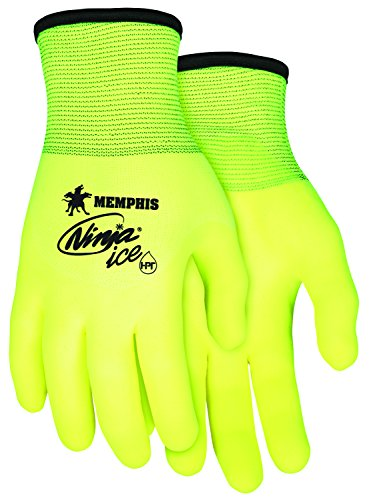 Memphis Glove N9690HVM Ninja Ice High Visibility Nylon Liner Double Layer Gloves with HPT Coating, Lemon Yellow, Medium, 1-Pair